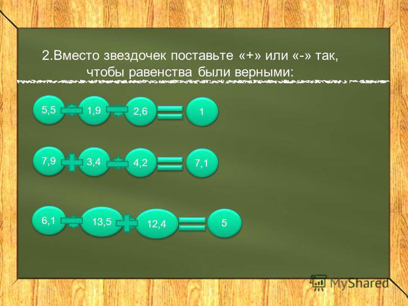 2. Вместо звездочек поставьте «+» или «-» так, чтобы равенства были верными: 5,5 1,9 2,6 1 1 7,9 3,4 4,2 7,1 6,1 13,5 5 5 12,4