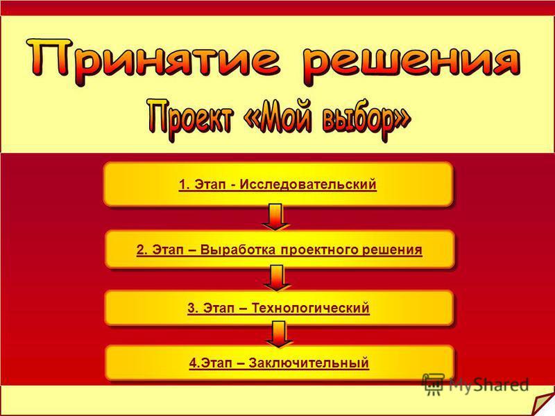 1. Этап - Исследовательский 1. Этап - Исследовательский 2. Этап – Выработка проектного решения 3. Этап – Технологический 4. Этап – Заключительный