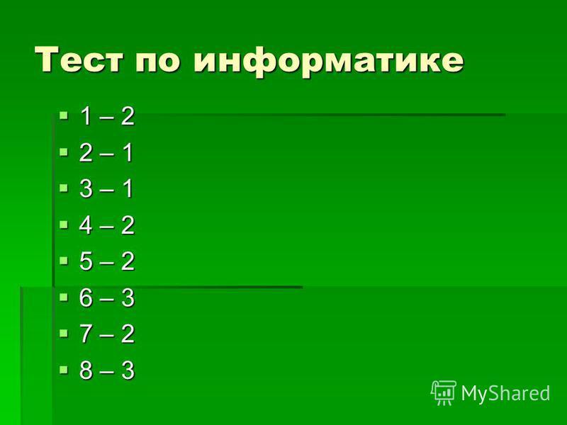 Тест по информатике 1 – 2 1 – 2 2 – 1 2 – 1 3 – 1 3 – 1 4 – 2 4 – 2 5 – 2 5 – 2 6 – 3 6 – 3 7 – 2 7 – 2 8 – 3 8 – 3
