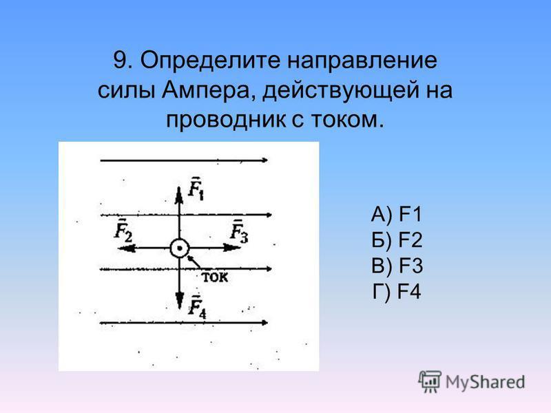 9. Определите направление силы Ампера, действующей на проводник с током. А) F1 Б) F2 В) F3 Г) F4