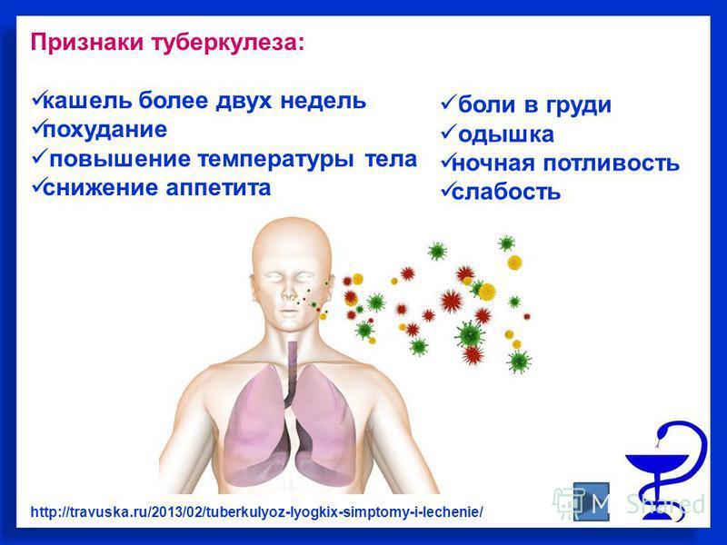 Признаки туберкулеза: кашель более двух недель похудание повышение температуры тела снижение аппетита http://travuska.ru/2013/02/tuberkulyoz-lyogkix-simptomy-i-lechenie/ боли в груди одышка ночная потливость слабость