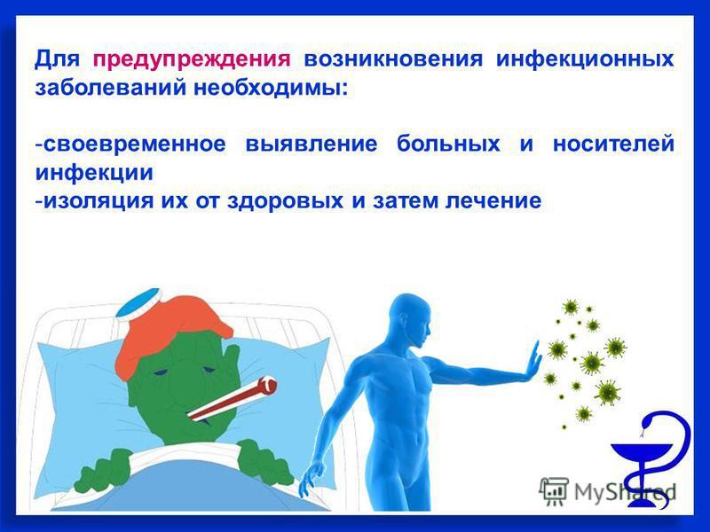 Для предупреждения возникновения инфекционных заболеваний необходимы: -своевременное выявление больных и носителей инфекции -изоляция их от здоровых и затем лечение