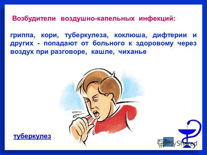Возбудители воздушно-капельных инфекций: гриппа, кори, туберкулеза, коклюша, дифтерии и других - попадают от больного к здоровому через воздух при разговоре, кашле, чиханье туберкулез