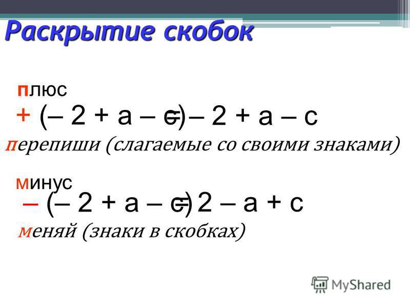 Раскрытие скобок + (– 2 + а – с) плюс перепиши (слагаемые со своими знаками) = – 2 + а – с – (– 2 + а – с) минус меняй (знаки в скобках) = 2 – а + с