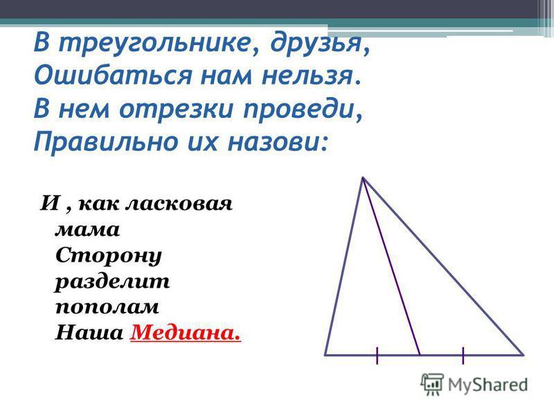 В треугольнике, друзья, Ошибаться нам нельзя. В нем отрезки проведи, Правильно их назови: И, как ласковая мама Сторону разделит пополам Наша Медиана.