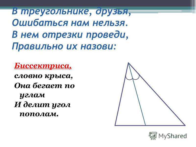 В треугольнике, друзья, Ошибаться нам нельзя. В нем отрезки проведи, Правильно их назови: Биссектриса, словно крыса, Она бегает по углам И делит угол пополам.