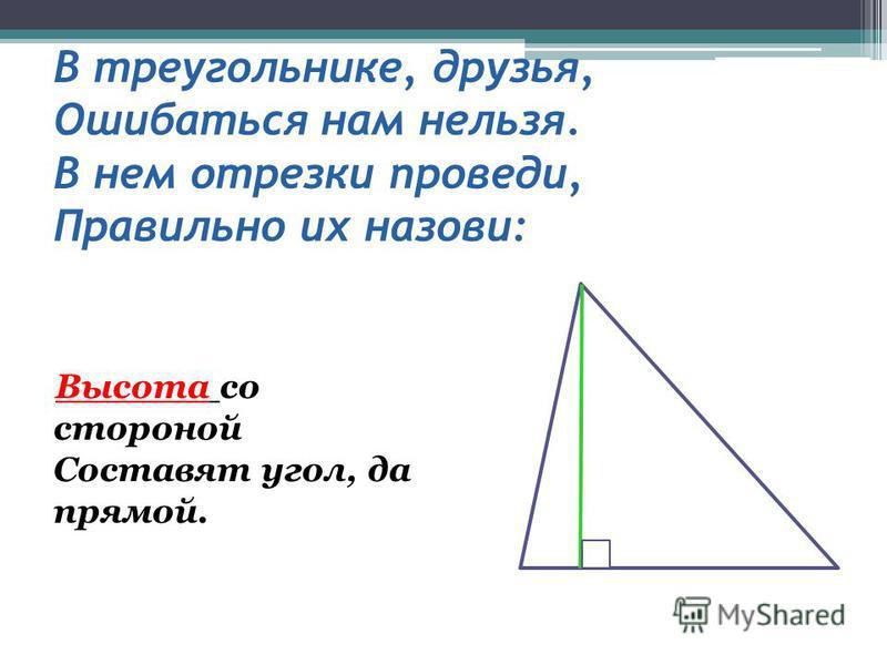 В треугольнике, друзья, Ошибаться нам нельзя. В нем отрезки проведи, Правильно их назови: Высота со стороной Составят угол, да прямой.