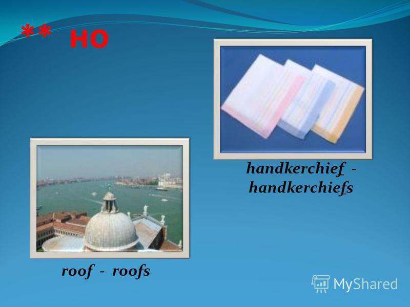 ** но roof - roofs handkerchief - handkerchiefs
