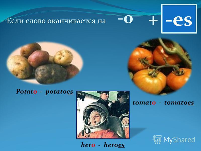 + Если слово оканчивается на -о -es Potato - potatoes tomato - tomatoes hero - heroes