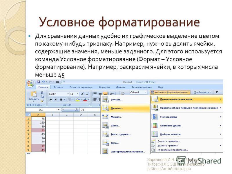 Условное форматирование Для сравнения данных удобно их графическое выделение цветом по какому - нибудь признаку. Например, нужно выделить ячейки, содержащие значения, меньше заданного. Для этого используется команда Условное форматирование ( Формат –