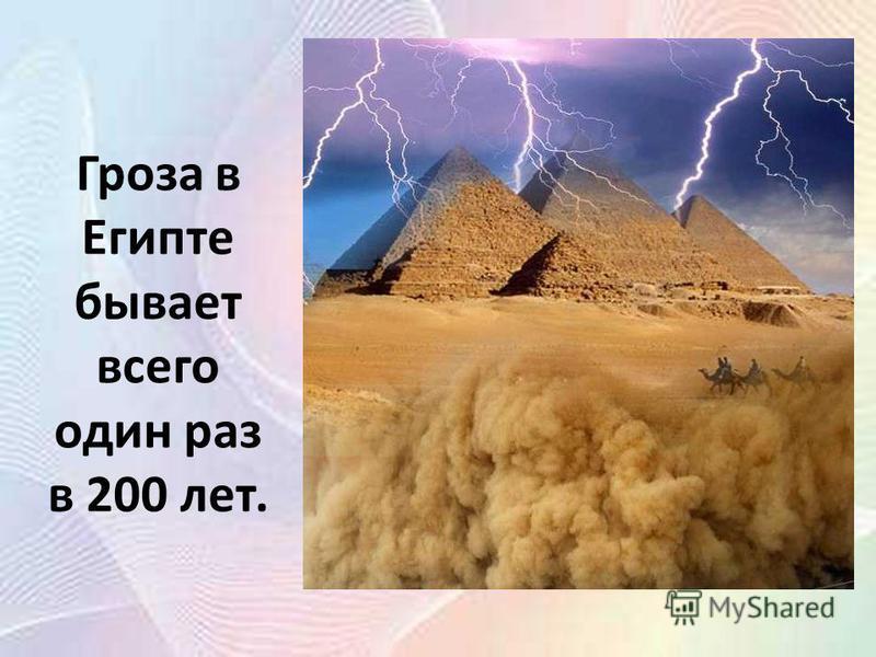 Гроза в Египте бывает всего один раз в 200 лет.