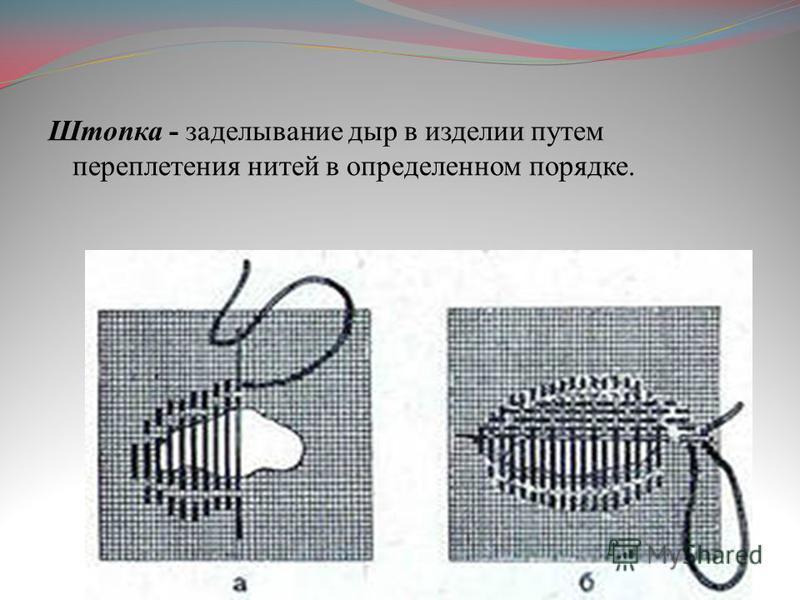Штопка - заделывание дыр в изделии путем переплетения нитей в определенном порядке.