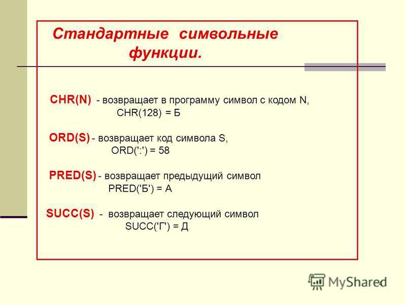 4 Стандартные символьные функции. CHR(N) - возвращает в программу символ с кодом N, CHR(128) = Б ORD(S) - возвращает код символа S, ORD(':') = 58 PRED(S) - возвращает предыдущий символ PRED('Б') = А SUCC(S) - возвращает следующий символ SUCC('Г') = Д