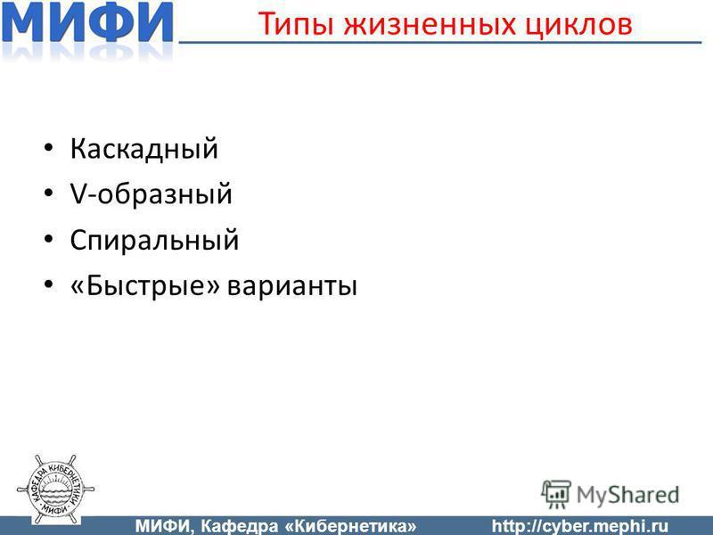 Типы жизненных циклов Каскадный V-образный Спиральный «Быстрые» варианты МИФИ, Кафедра «Кибернетика»http://cyber.mephi.ru