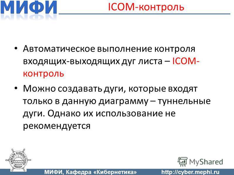ICOM-контроль Автоматическое выполнение контроля входящих-выходящих дуг листа – ICOM- контроль Можно создавать дуги, которые входят только в данную диаграмму – туннельные дуги. Однако их использование не рекомендуется МИФИ, Кафедра «Кибернетика»http: