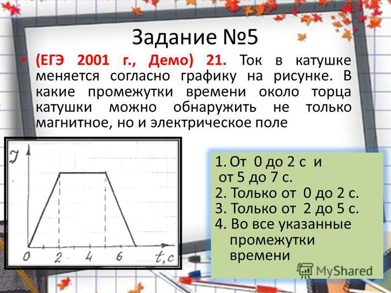 Задание 5 (ЕГЭ 2001 г., Демо) 21. Ток в катушке меняется согласно графику на рисунке. В какие промежутки времени около торца катушки можно обнаружить не только магнитное, но и электрическое поле 1. От 0 до 2 с и от 5 до 7 с. 2. Только от 0 до 2 с. 3.