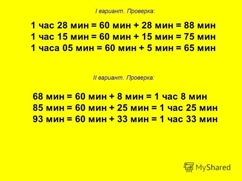 1 час 28 мин = 60 мин + 28 мин = 88 мин 1 час 15 мин = 60 мин + 15 мин = 75 мин 1 часа 05 мин = 60 мин + 5 мин = 65 мин I вариант. Проверка: II вариант. Проверка: 68 мин = 60 мин + 8 мин = 1 час 8 мин 85 мин = 60 мин + 25 мин = 1 час 25 мин 93 мин =
