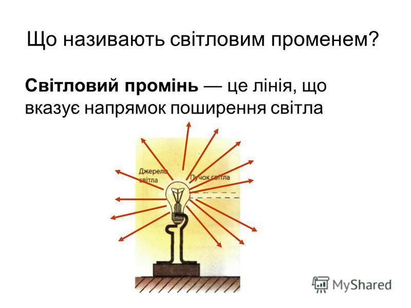 Що називають світловим променем? Світловий промінь це лінія, що вказує напрямок поширення світла