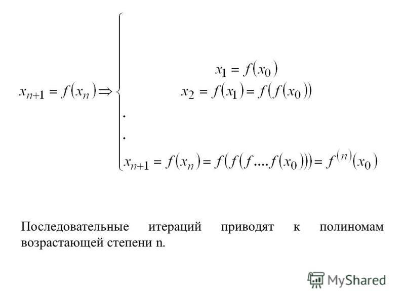 Последовательные итераций приводят к полиномам возрастающей степени n.