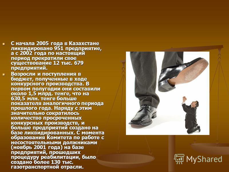 С начала 2005 года в Казахстане ликвидировано 951 предприятие, а с 2002 года по настоящий период прекратили свое существование 12 тыс. 679 предприятий. С начала 2005 года в Казахстане ликвидировано 951 предприятие, а с 2002 года по настоящий период п