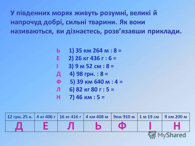 Ь 1) 35 км 264 м : 8 = Е 2) 26 кг 436 г : 6 = І 3) 9 м 52 см : 8 = Д 4) 98 грн. : 8 = Ф 5) 39 км 640 м : 4 = Л 6) 82 кг 80 г : 5 = Н 7) 46 км : 5 = 12 грн. 25 к.4 кг 406 г16 кг 416 г4 км 408 м9км 910 м1 м 19 см9 км 200 м ЛЬФІН