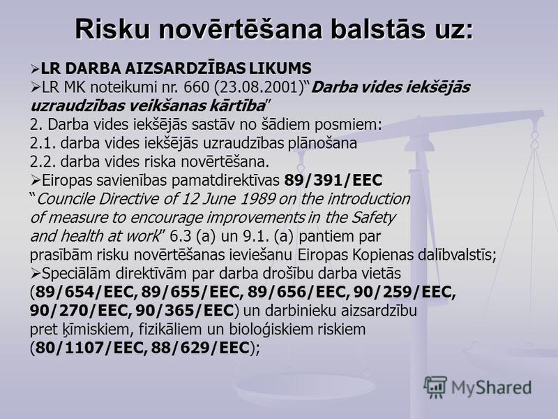 Risku novērtēšana balstās uz: LR DARBA AIZSARDZĪBAS LIKUMS LR MK noteikumi nr. 660 (23.08.2001)Darba vides iekšējās uzraudzības veikšanas kārtība 2. Darba vides iekšējās sastāv no šādiem posmiem: 2.1. darba vides iekšējās uzraudzības plānošana 2.2. d