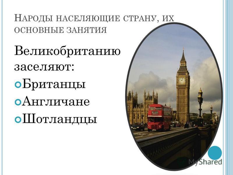 Н АРОДЫ НАСЕЛЯЮЩИЕ СТРАНУ, ИХ ОСНОВНЫЕ ЗАНЯТИЯ Великобританию заселяют: Британцы Англичане Шотландцы