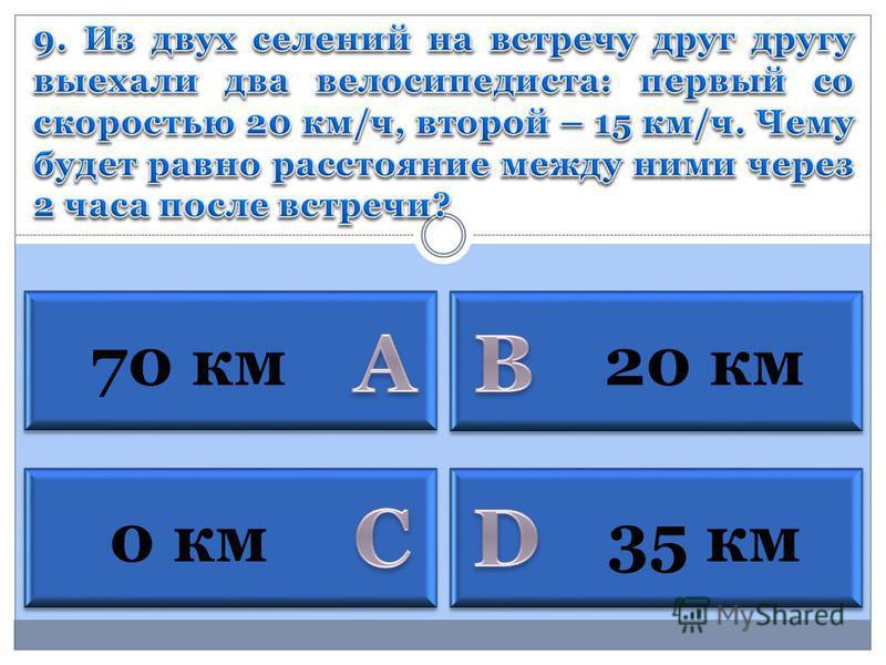 0 км 70 км 35 км 20 км