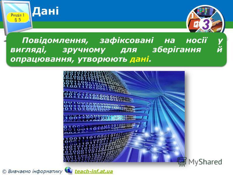 33 © Вивчаємо інформатику teach-inf.at.uateach-inf.at.ua Дані Розділ 1 § 5 Повідомлення, зафіксовані на носії у вигляді, зручному для зберігання й опрацювання, утворюють дані.