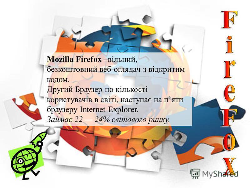 Mozilla Firefox –вільний, безкоштовний веб-оглядач з відкритим кодом. Другий Браузер по кількості користувачів в світі, наступає на пяти браузеру Internet Explorer. Займає 22 24% світового ринку.