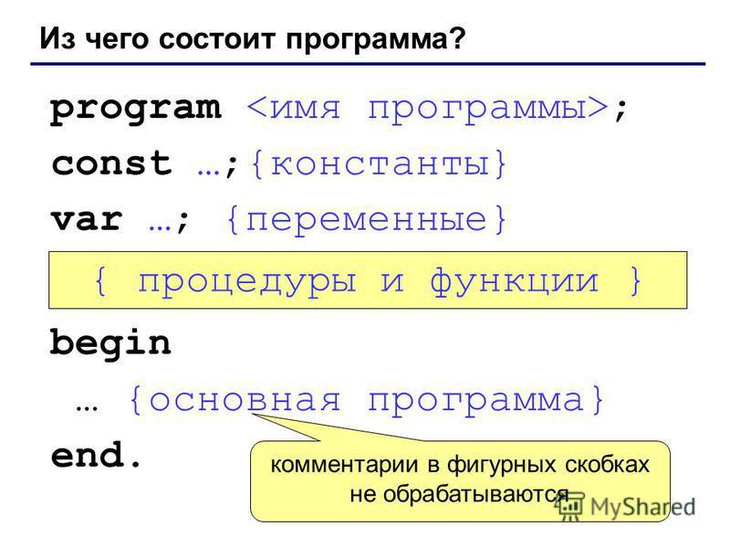 Из чего состоит программа? program ; const …;{константы} var …; {переменные} begin … {основная программа} end. { процедуры и функции } комментарии в фигурных скобках не обрабатываются