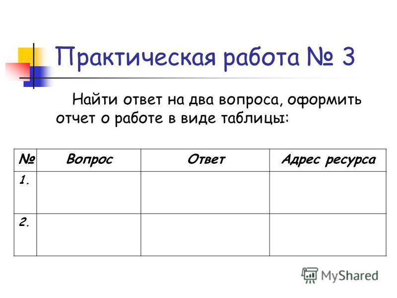 Практическая работа 3 Найти ответ на два вопроса, оформить отчет о работе в виде таблицы: Вопрос ОтветАдрес ресурса 1. 2.