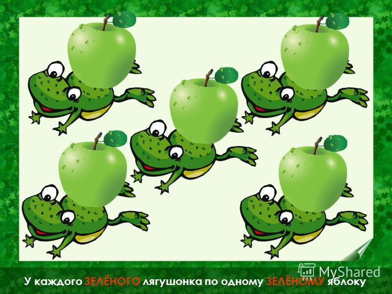 ОДИН лягушонок держит ОДНО яблоко