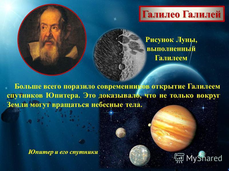 Галилео Галилей Рисунок Луны, выполненный Галилеем Юпитер и его спутники Больше всего поразило современников открытие Галилеем спутников Юпитера. Это доказывало, что не только вокруг Земли могут вращаться небесные тела.