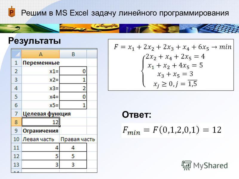 Решим в MS Excel задачу линейного программирования Результаты Ответ:
