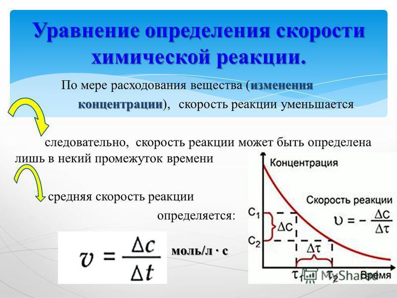 изменения По мере расходования вещества (изменения концентрации концентрации), скорость реакции уменьшается следовательно, скорость реакции может быть определена лишь в некий промежуток времени средняя скорость реакции определяется: Уравнение определ