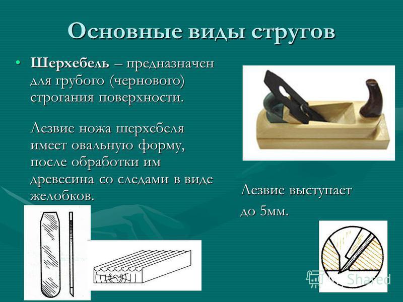 Основные виды стругов Шерхебель – предназначен для грубого (чернового) строгания поверхности.Шерхебель – предназначен для грубого (чернового) строгания поверхности. Лезвие ножа шерхебеля имеет овальную форму, после обработки им древесина со следами в