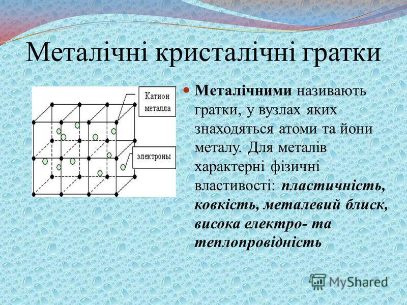Металічні кристалічні гратки Металічними називають гратки, у вузлах яких знаходяться атоми та йони металу. Для металів характерні фізичні властивості: пластичність, ковкість, металевий блиск, висока електро- та теплопровідність