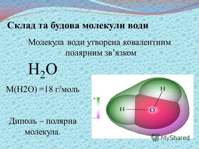 Склад та будова молекули води Н 2 О M(H2O) =18 г/моль Диполь – полярна молекула. Молекула води утворена ковалентним полярним звязком