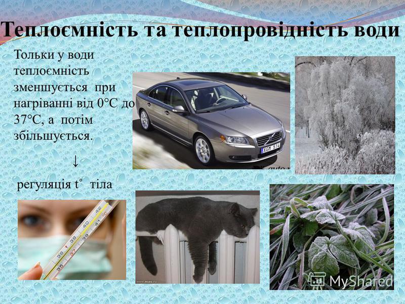 Теплоємність та теплопровідність води Тольки у води теплоємність зменшується при нагріванні від 0°С до 37°С, а потім збільшується. регуляція t˚ тіла