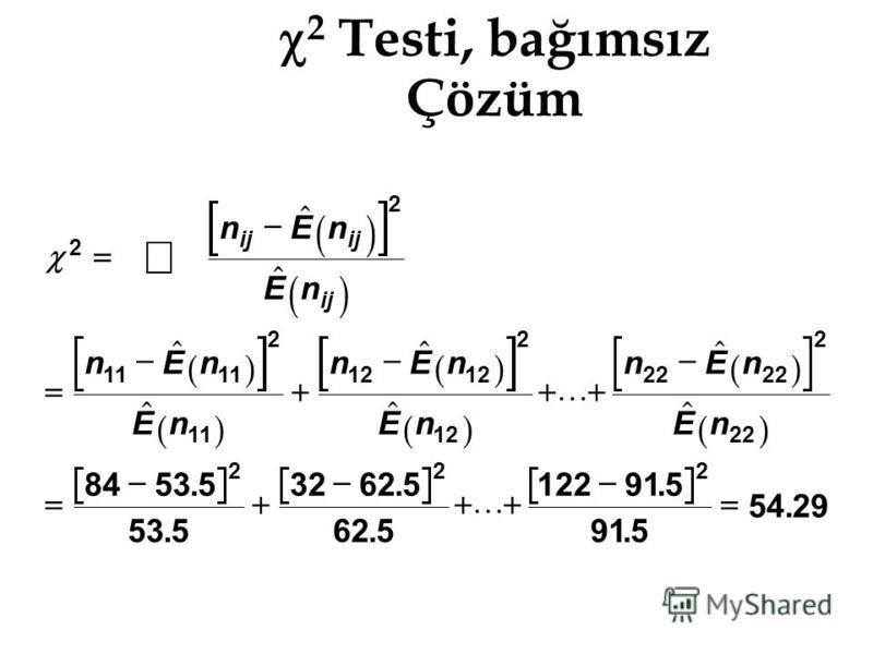 2 Testi, bağımsız Çözüm