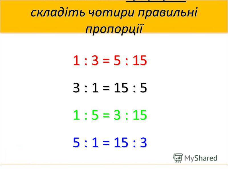З даних чисел 1, 3, 5, 15 складіть чотири правильні пропорції 1 : 3 = 5 : 15 3 : 1 = 15 : 5 1 : 5 = 3 : 15 5 : 1 = 15 : 3