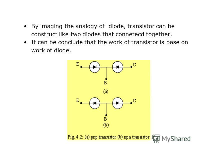 By imaging the analogy of diode, transistor can be construct like two diodes that connetecd together. It can be conclude that the work of transistor is base on work of diode.