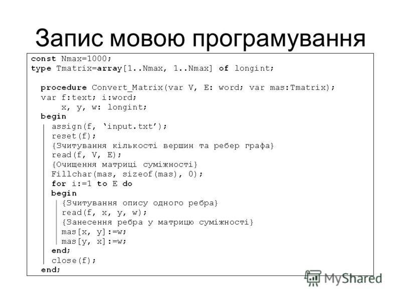 Запис мовою програмування
