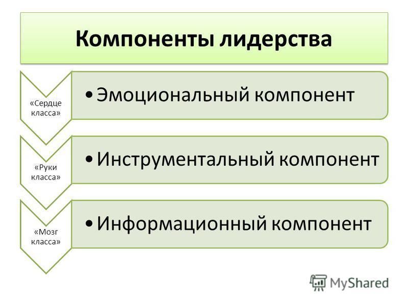 Компоненты лидерства «Сердце класса» Эмоциональный компонент «Руки класса» Инструментальный компонент «Мозг класса» Информационный компонент
