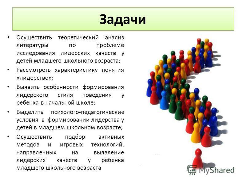 Задачи Осуществить теоретический анализ литературы по проблеме исследования лидерских качеств у детей младшего школьного возраста; Рассмотреть характеристику понятия «лидерство»; Выявить особенности формирования лидерского стиля поведения у ребенка в