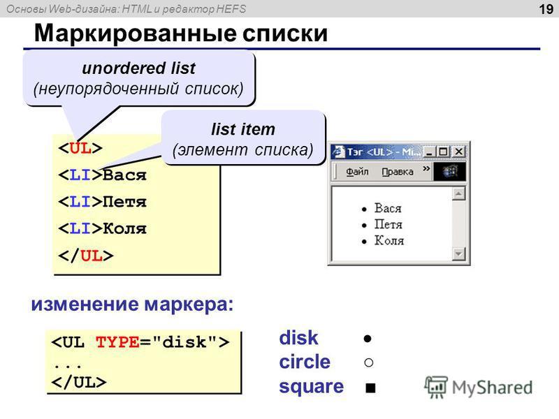 Основы Web-дизайна: HTML и редактор HEFS 19 Маркированные списки Вася Петя Коля Вася Петя Коля unordered list (неупорядоченный список) list item (элемент списка) изменение маркера:...... disk circle square
