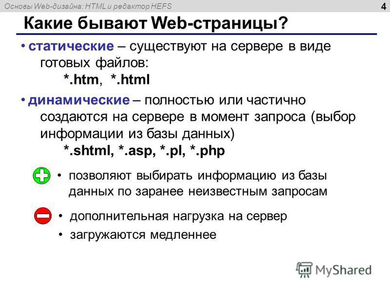 Основы Web-дизайна: HTML и редактор HEFS 4 Какие бывают Web-страницы? статические – существуют на сервере в виде готовых файлов: *.htm, *.html динамические – полностью или частично создаются на сервере в момент запроса (выбор информации из базы данны