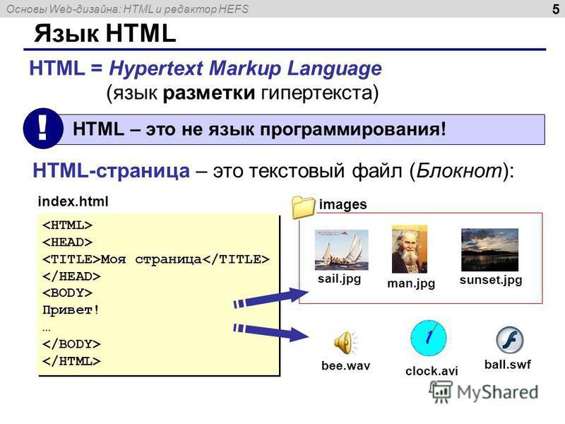 Основы Web-дизайна: HTML и редактор HEFS 5 Язык HTML HTML = Hypertext Markup Language (язык разметки гипертекста) HTML – это не язык программирования! ! HTML-страница – это текстовый файл (Блокнот): Моя страница Привет! … Моя страница Привет! … index