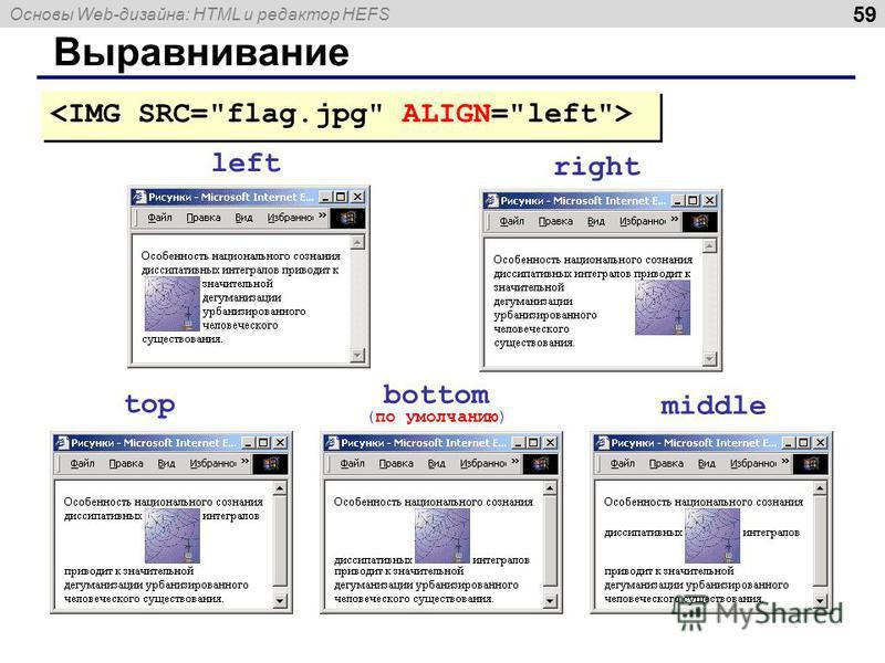 Основы Web-дизайна: HTML и редактор HEFS 59 Выравнивание left right top bottom (по умолчанию) middle
